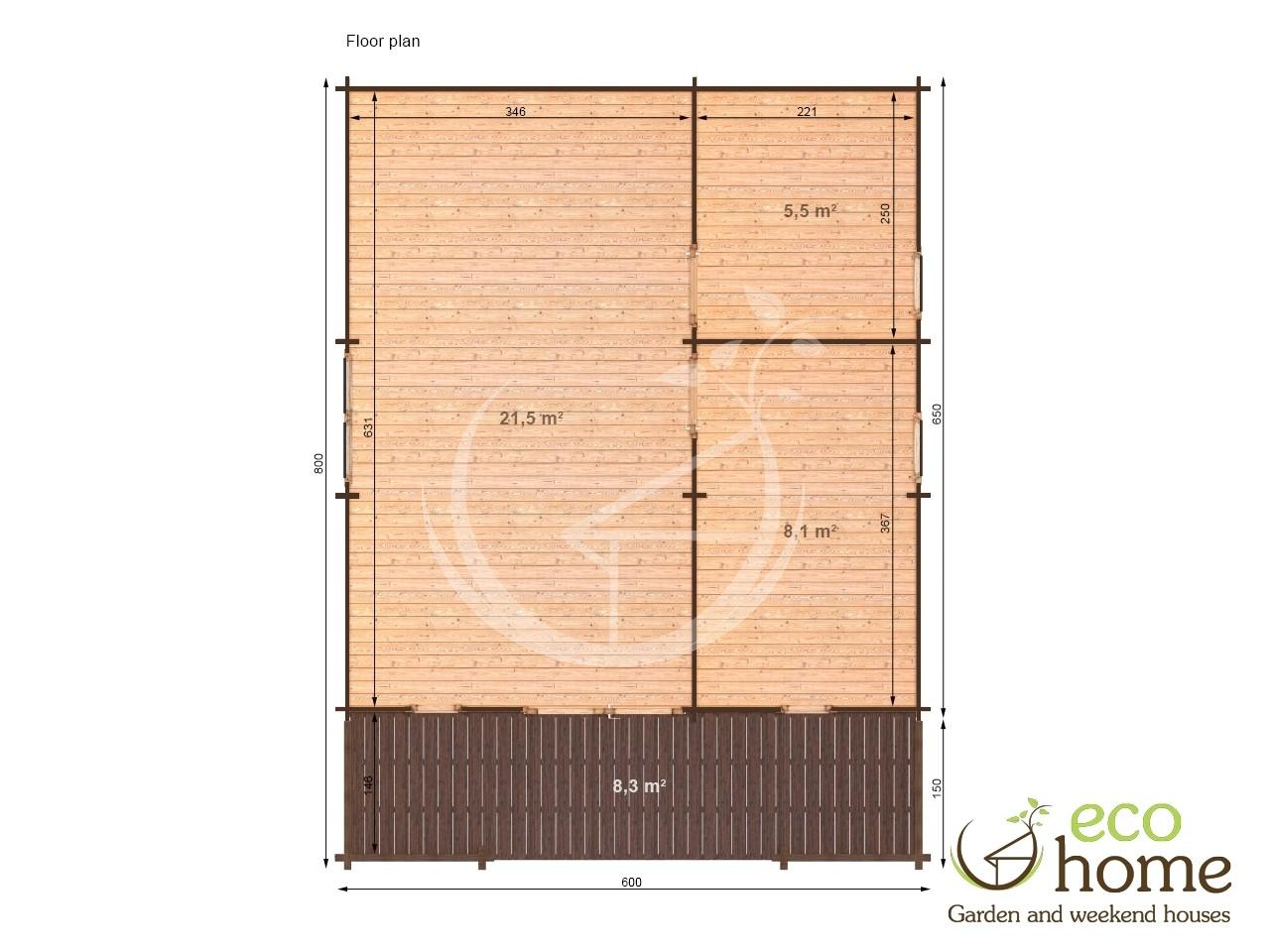 One Bedroom Log Cabin 44padova B 6x6 5m Eco Home