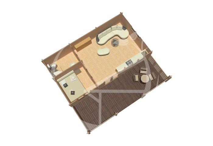 Alma One Bedroom Log Cabin