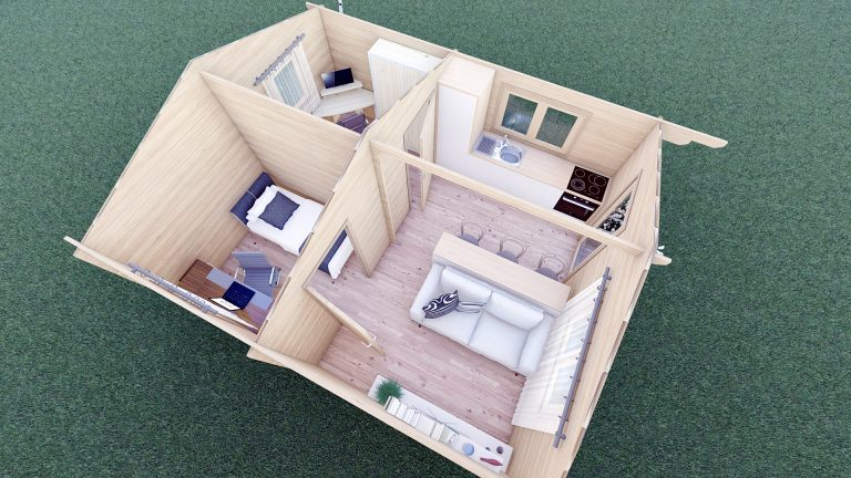 Eco One Bed Log Cabin 5m X 5.7m 12