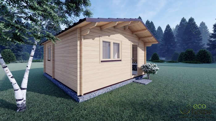 Eco One Bed Log Cabin 5m X 5.7m