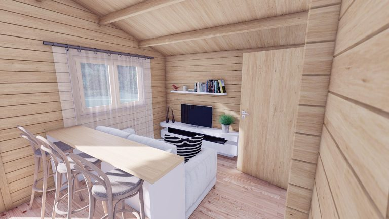 Eco One Bed Log Cabin 5m X 5.7m 8