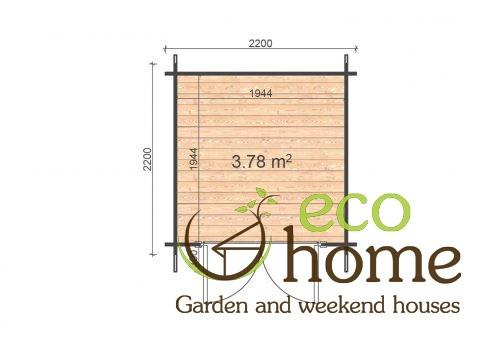 Ecohome Log Cabins Tullamore Gerden Log Cabin Bedford 2,2x2,2 Floor Plan