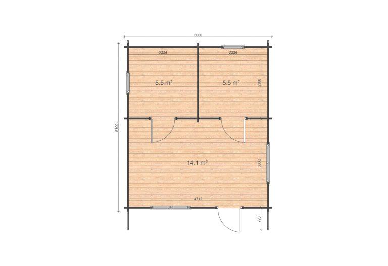 Eko 5x5,7 Floor Plan One Bedroom Log Cabin Ireland