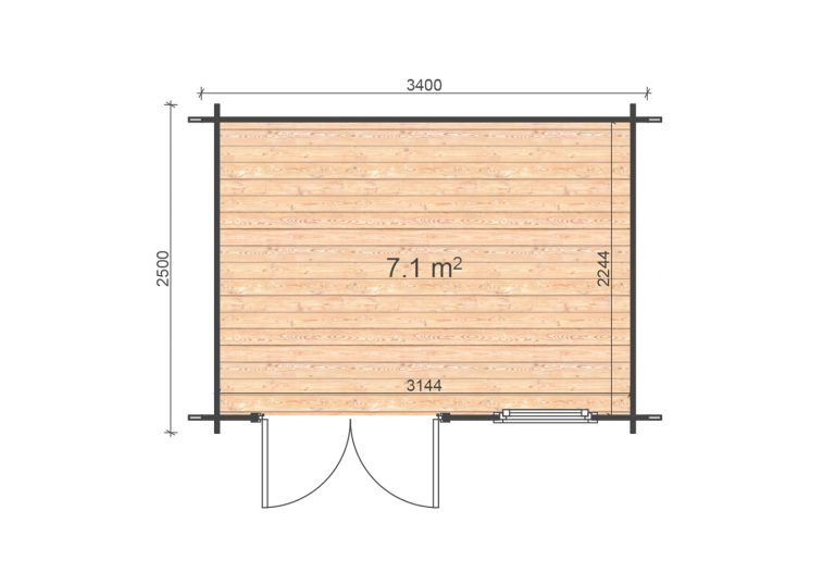 Erna 2,5x3,4 Floor Plan