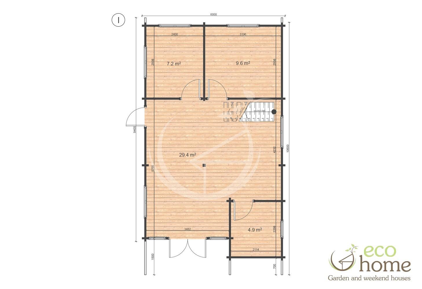 Two storey four bed log cabin felix 6m x 10m log cabins for Two storey log cabins for sale