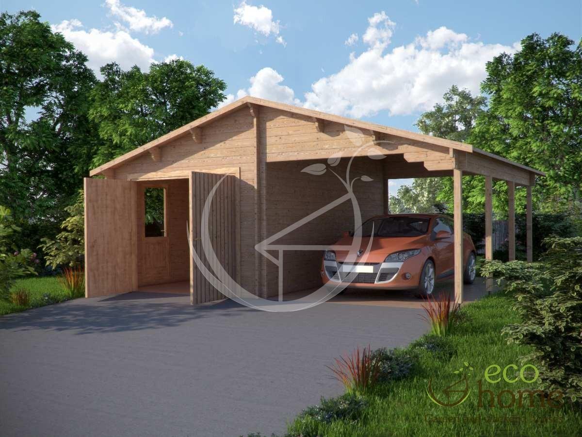Log Garage Plus Carport 6 8m X 5 6m Log Cabin Ireland