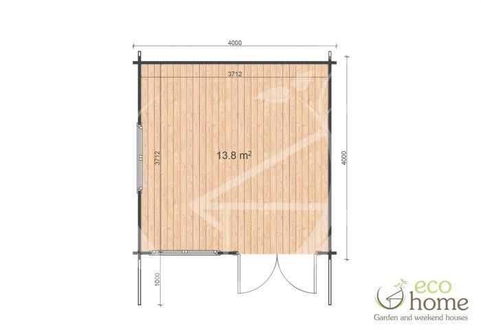 Garden Log Cabin Linus 4x4 Floor Plan