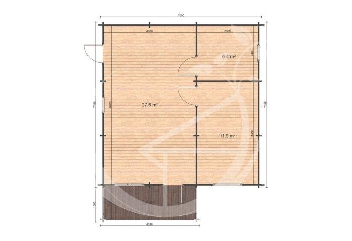 Hakan B Floor Plan One Bed Log Cabin Ireland