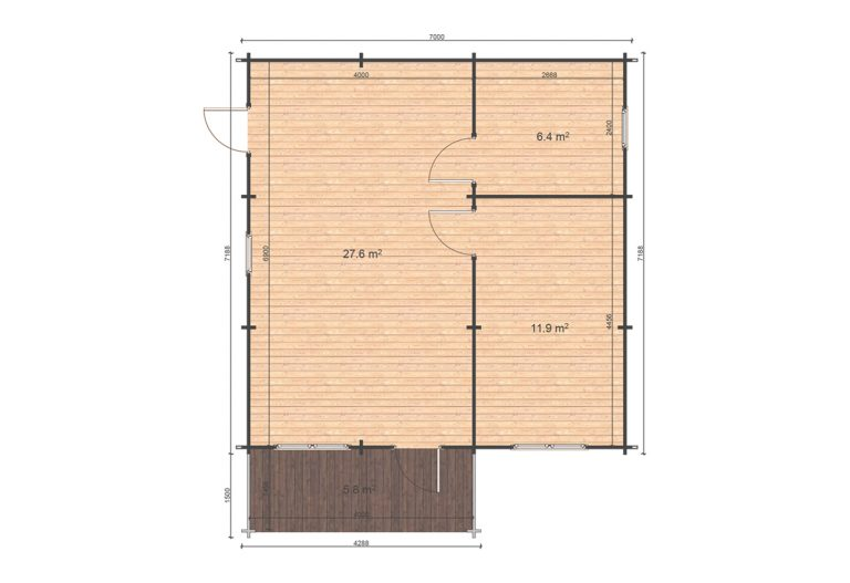 Hakan B Floor Plan One Bed Log Cabin Ireland