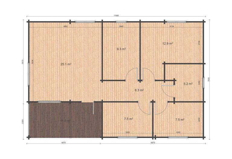 Iberica T3 7,92x11,84 Floor Plan