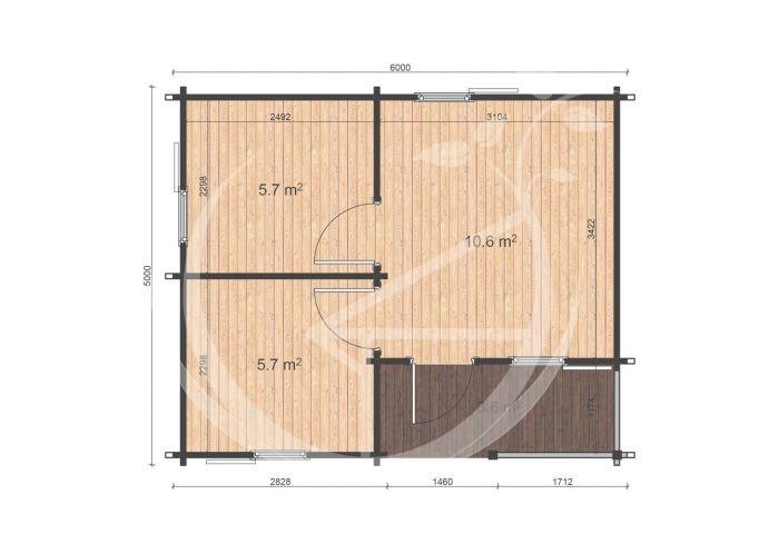 One Bed Log Cabin Veronica 5x6 Floor Plan