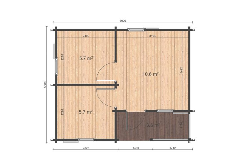 One Bed Log Cabin Veronica 5x6 Floor Plan