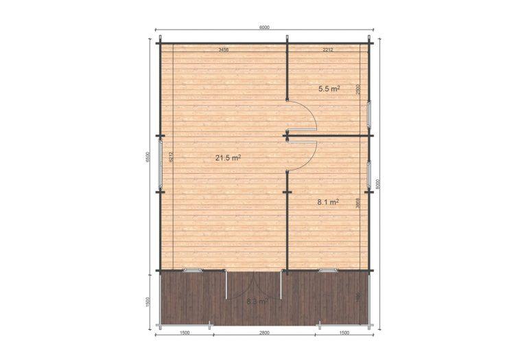 Padova B 6x6,5 Floor Plan