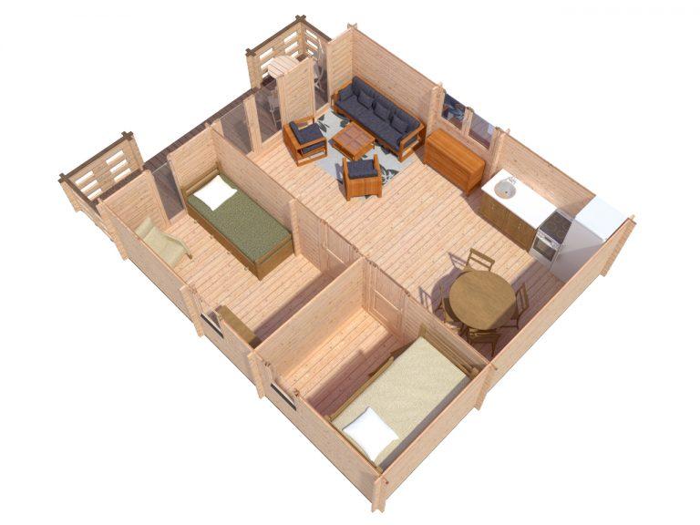 Padova B 6x6,5 One Bed Log Cabin Ireland