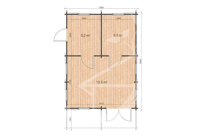 Torino 4,5x6 Floor Plan One Bed Log Cabin