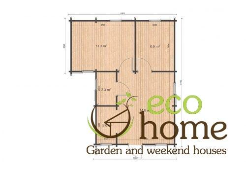 Two Bed Log Cabin Ireland Lukas 6,5x7,7 Floor Plan