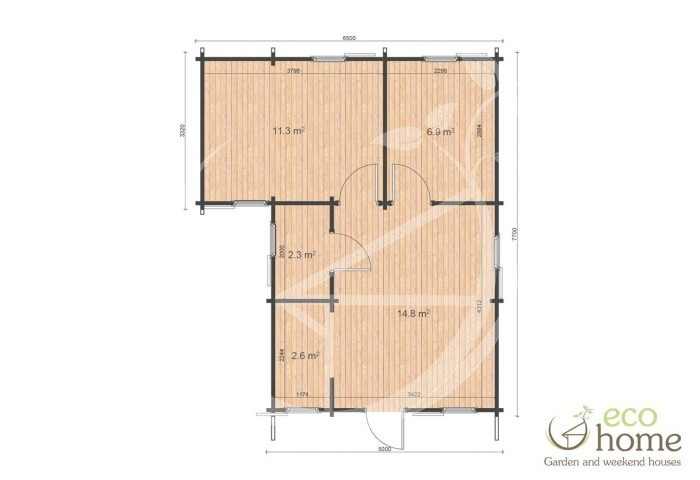 Two Bed Log Cabin Ireland Lukas 6,5x7,7 Floor Plan