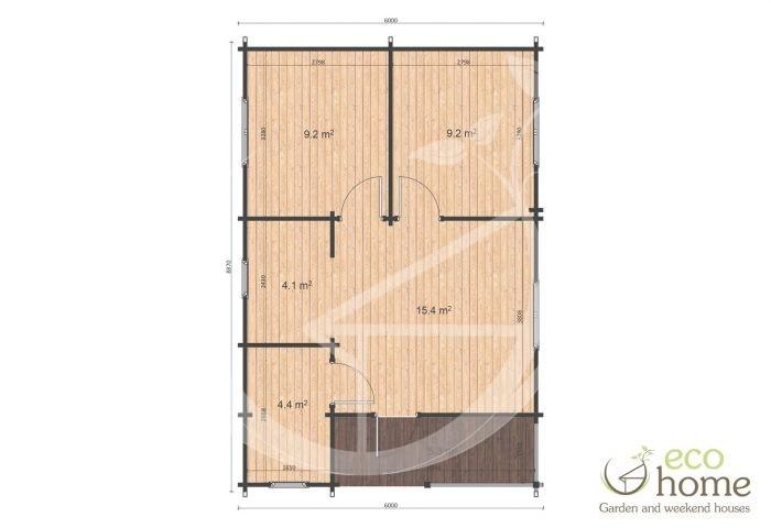 Two Bed Log Cabin Loghouse Ireland Almeria 6x8,87 Floor Plan