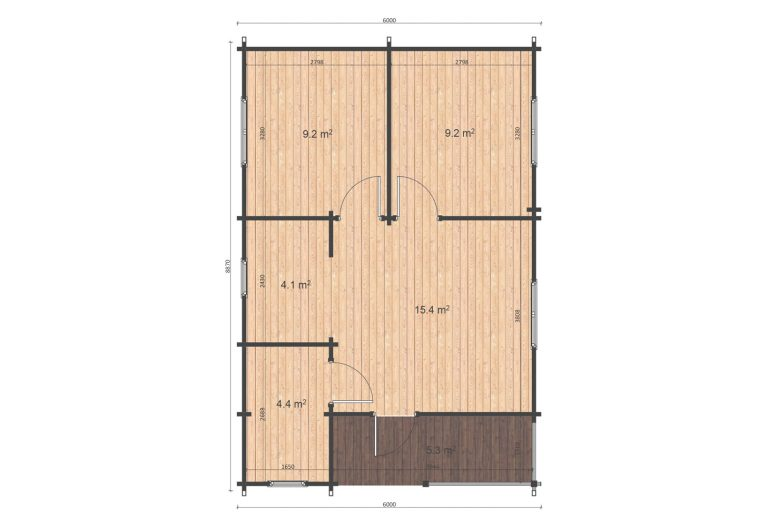Two Bed Log Cabin Loghouse Ireland Almeria 6x8,87 Floor Plan