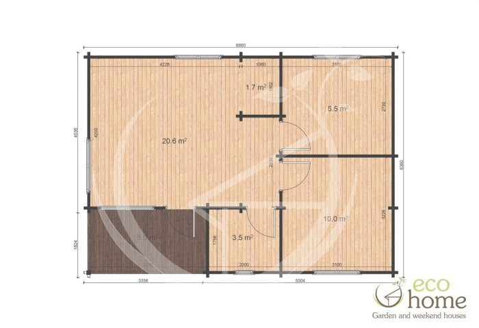 Two Bed Loghouse Iberica T2 6,36x8,86 Floor Plan