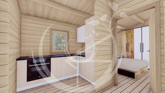 Wo Bed Log Cabin Almeria 6m X 8.87m 10
