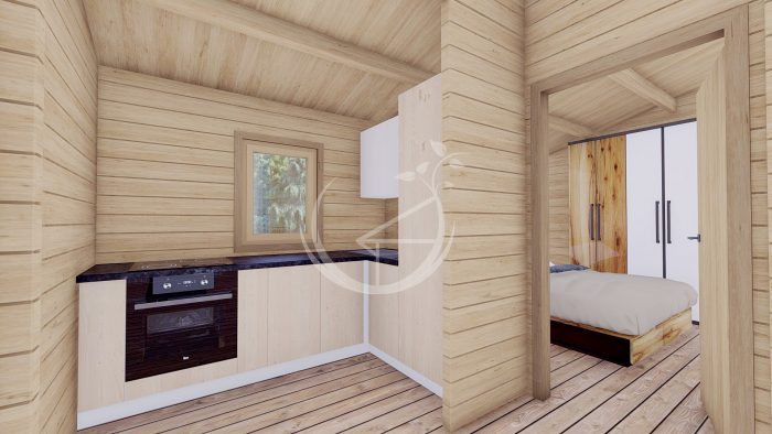 Wo Bed Log Cabin Almeria 6m X 8.87m 10