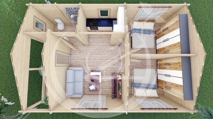 Wo Bed Log Cabin Almeria 6m X 8.87m 11