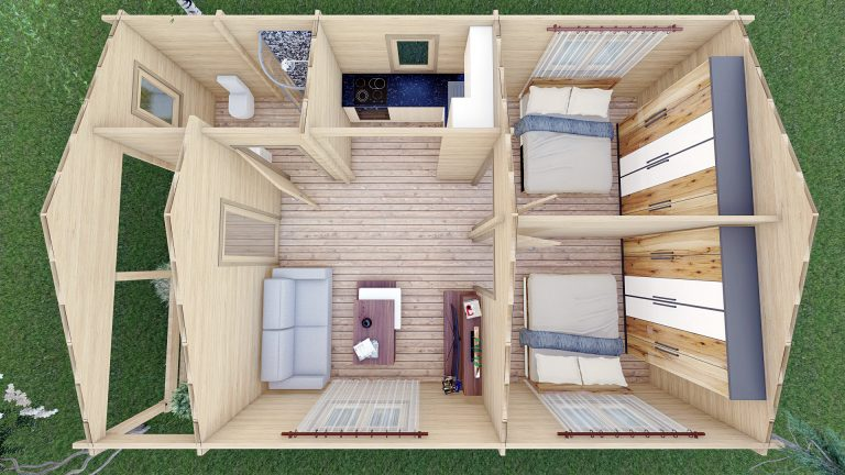 Wo Bed Log Cabin Almeria 6m X 8.87m 11