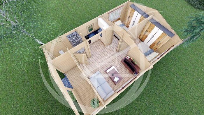 Wo Bed Log Cabin Almeria 6m X 8.87m 12