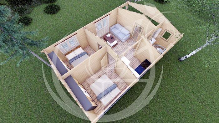 Wo Bed Log Cabin Almeria 6m X 8.87m 13
