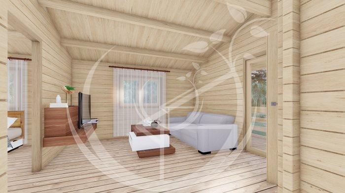 Wo Bed Log Cabin Almeria 6m X 8.87m 4
