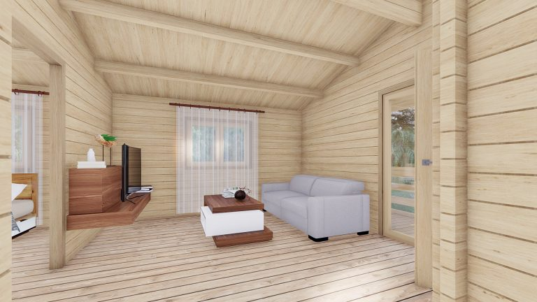 Wo Bed Log Cabin Almeria 6m X 8.87m 4