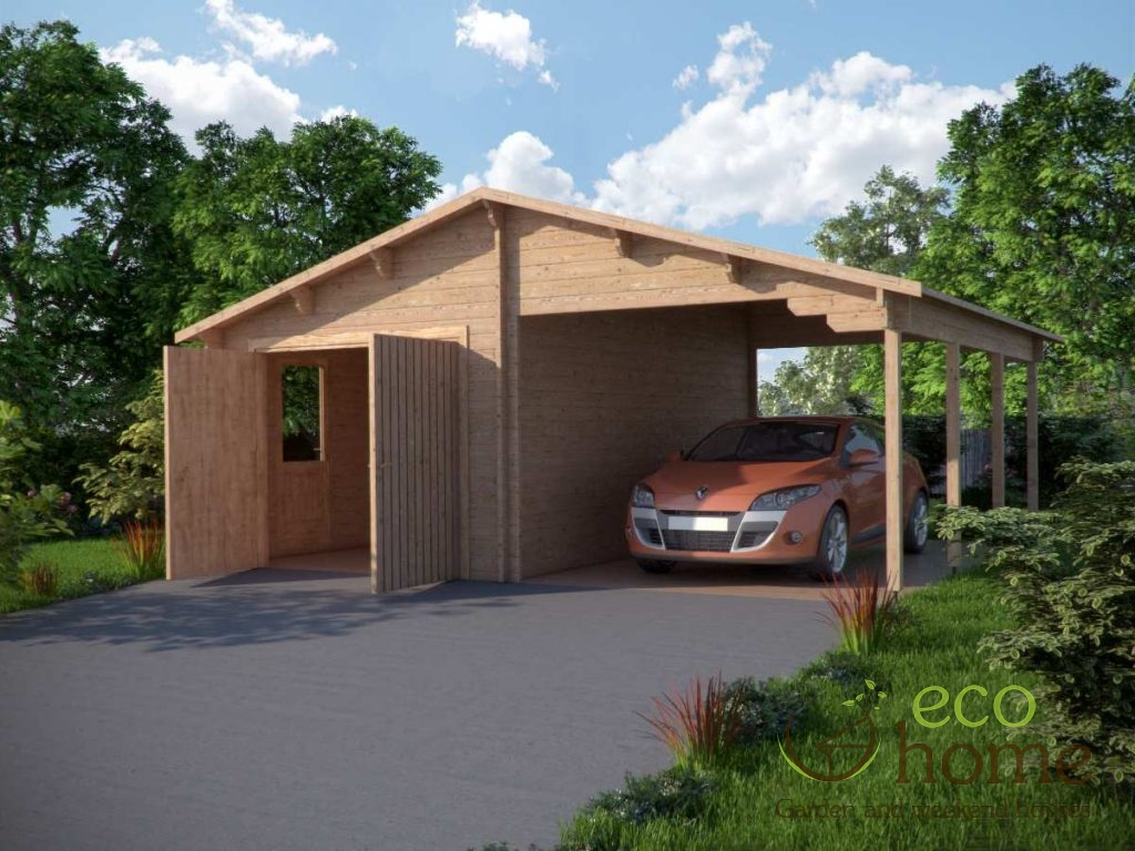 Log garage plus carport x log cabins ireland for Carport one