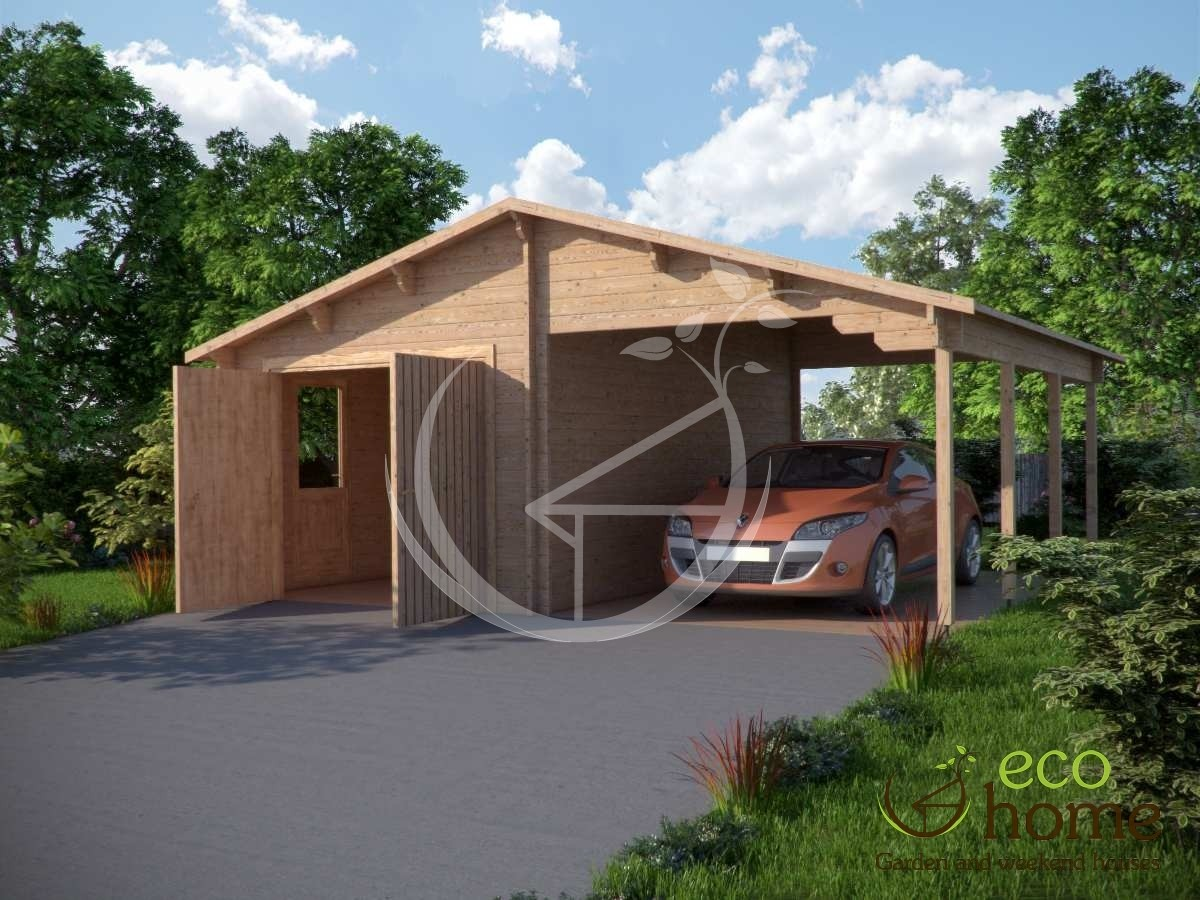 Garage with shelter 1 log cabins for Log carports