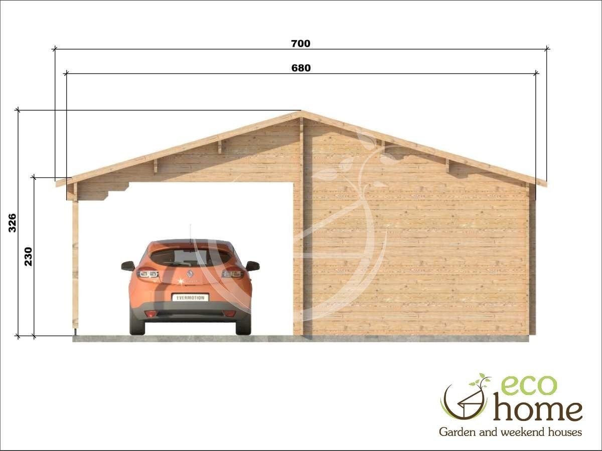garage with shelter 3 log cabins. Black Bedroom Furniture Sets. Home Design Ideas