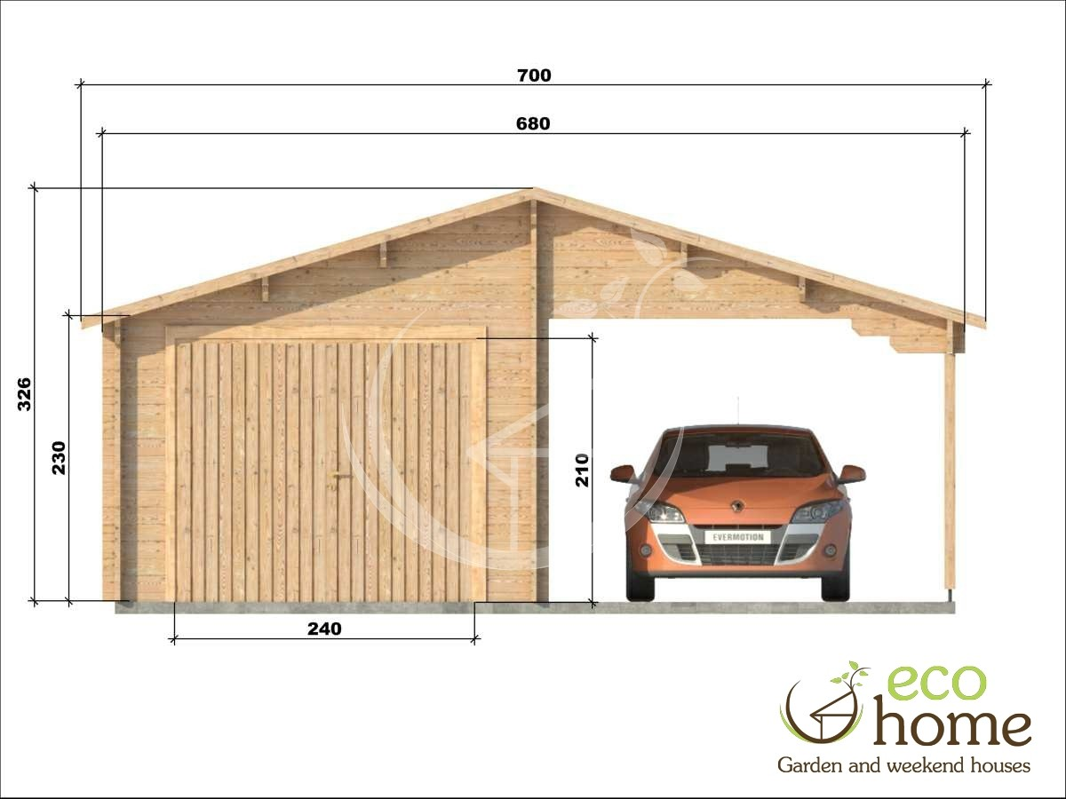garage with shelter 5 log cabins. Black Bedroom Furniture Sets. Home Design Ideas