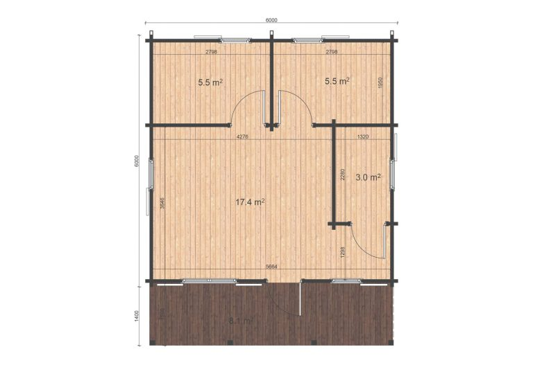 Two Bed Log Cabin Ecohome Logcabins Ireland Louise 6x6 Floor Plan