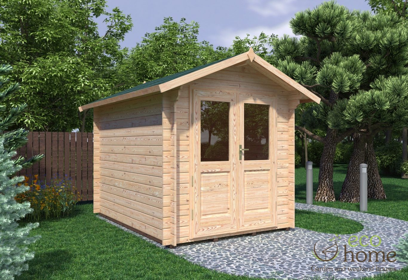 Garden log cabin bedford x 3m log cabins ireland for Log cabin for two
