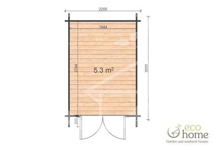 Garden Log Cabin Bedford 2,2x3 Floor Plan