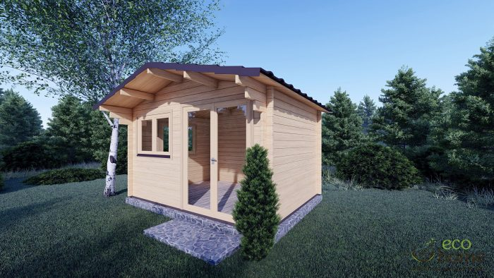 45mm Linus 4m X 3m Garden Log Cabin 2