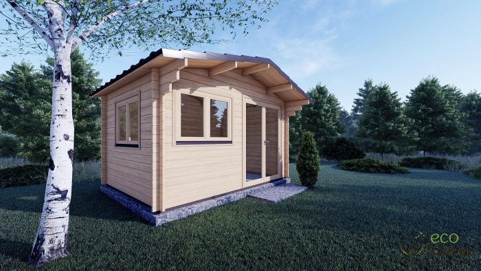45mm Linus 4m X 3m Garden Log Cabin With Double Doors And Two Double Windows