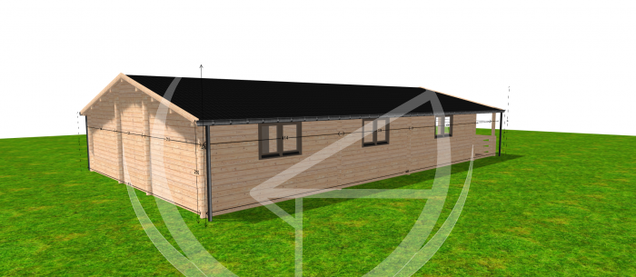 Eco Four Bed Log Cabin Rear Right
