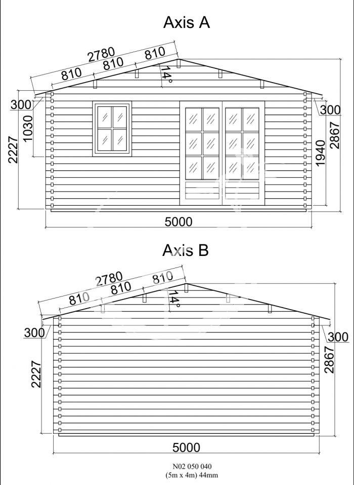 Model 2 Log Cabin 5m X 4 Front