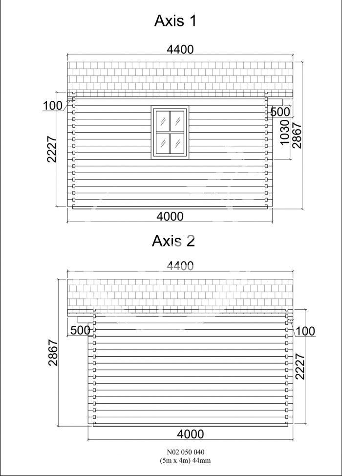 Model 2 Log Cabin 5m X 4 Sides